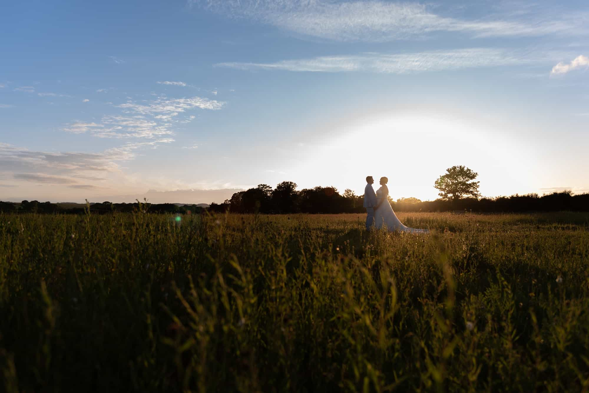 Landscape shot at Sunset in a field in Hawk Conservancy in Andover, Hampshire. couple shots of them being romantic and standing close together on their wedding day.