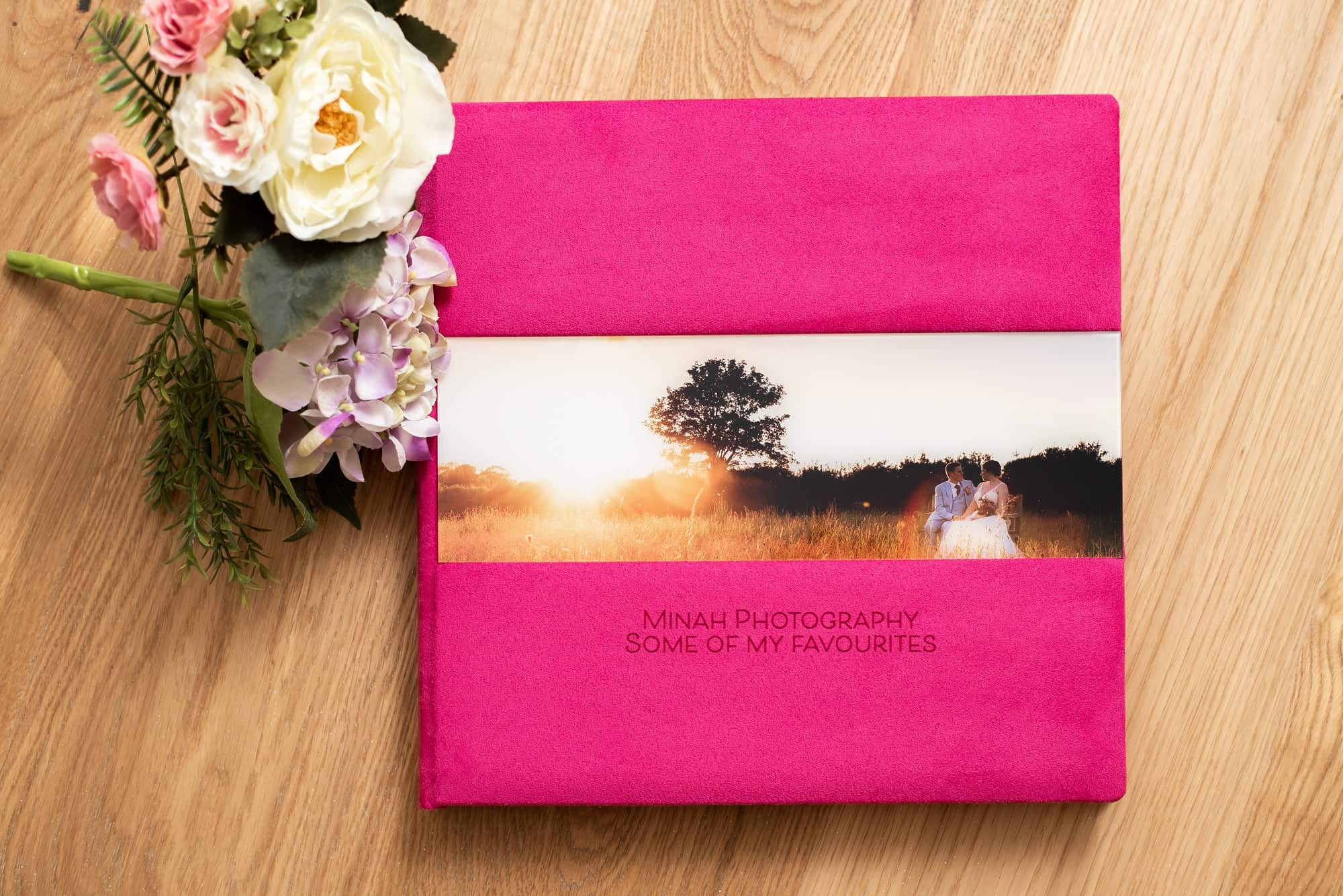 Wedding albums products, bespoke and made to your own design. Great for a gift. cream suede album with matching box